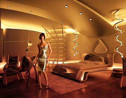 Futuristic Hotel Room 2020