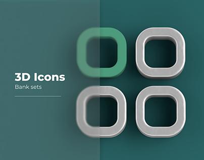 3D Icons. Bank sets