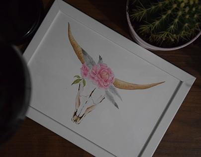 romantic bull's skull
