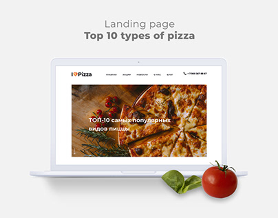 Landing page Top 10 types of pizza