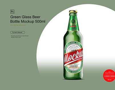 Green Glass Beer Bottle Mockup 500ml