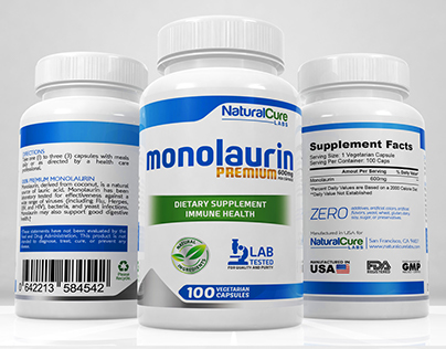 Monolaurin -  Label and 3D Render