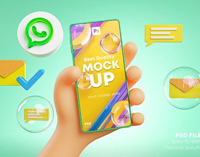 Cute Hand Holding Phone Mockup Social Media Pack
