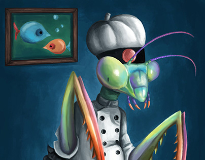 Cooking Mantis - customized painting for kitchen
