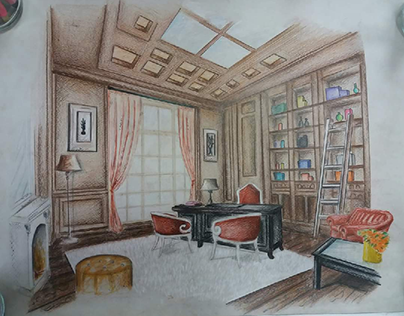 HOME OFFICE PERSPECTIVE DRAWING ||