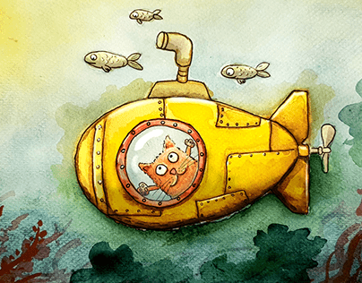 """Yellow Submarine"" Watercolor illustration set"
