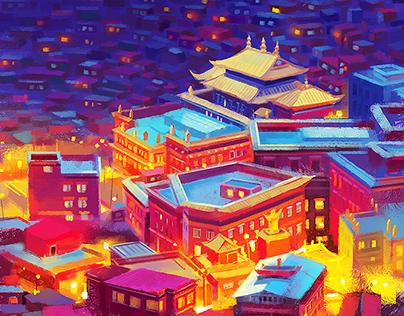 Sichuan Seda Buddhist Institute - 四川色达佛学院 - 手绘明信片