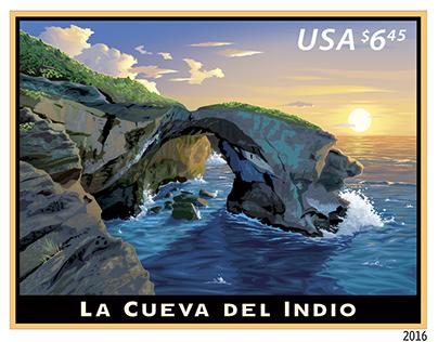 USPS Postage Stamp: La Cueva del Indio