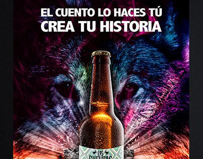 Diseño de imagen para cervezería Los Cuentos.