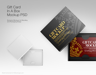 Gift Card In A Box PSD Mockups
