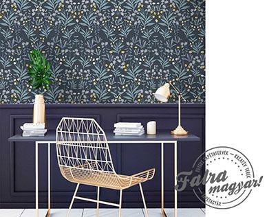 Floral wallpaper design for Falra magyar! brand