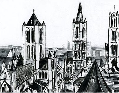 Folk Marathon Ghent promo illustrations & animation
