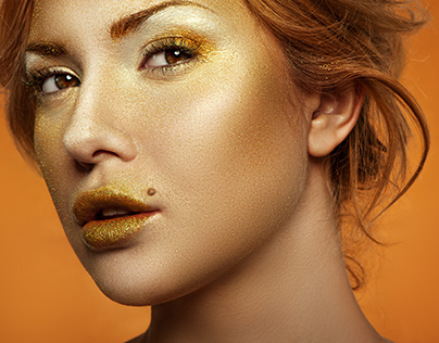 Closeup Portrait of beauty Blonde with gold Makeup