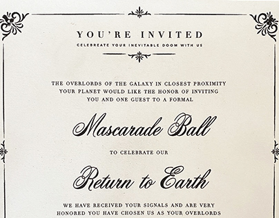 End of the world formal invitation