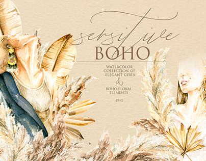 Sensitive BOHO. Watercolor collection
