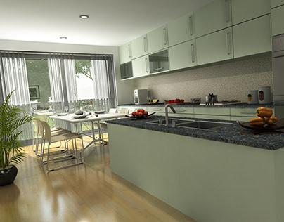 Architectural 3D Rendering & Interior Model of Kitchen