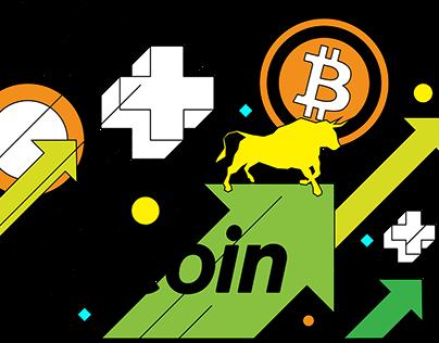 Bullish trend of Bitcoin with a bull, an upward arrow