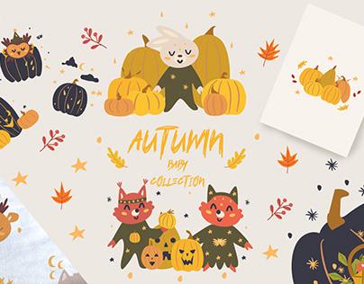 Autumn baby animals collection