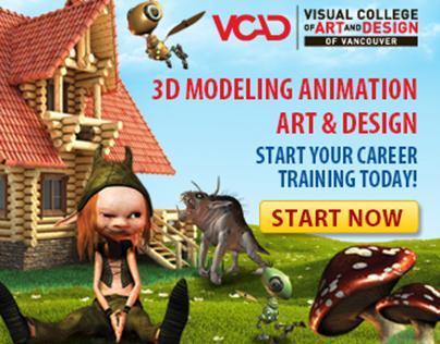 VCAD - 3D Modeling Animation Web Banner + Landing Page