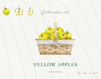 Watercolor Yellow Apples Illustrations