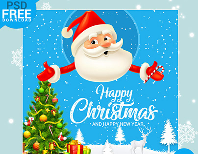 Happy Christmas Greeting Mockup PSD