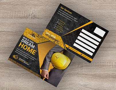 Construction postcard design template.