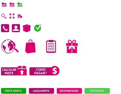Botões de site e-commerce