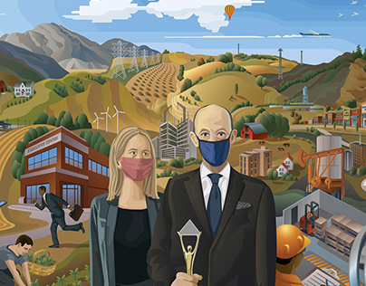 American Business Awards Mural Illustration 2020