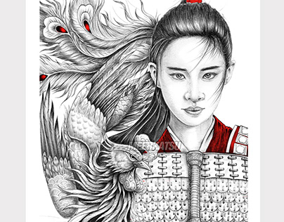 Mulan and phoenix ball point pen drawing