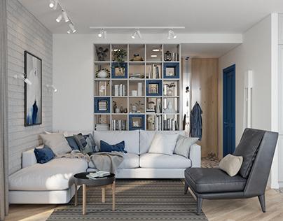 Design of the one room apartment at Kopernika str.