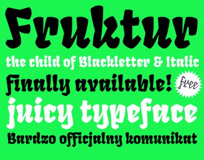 Fruktur Typeface. The child of black letter & italic
