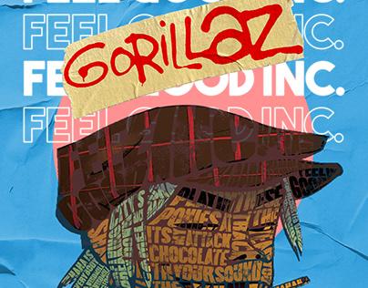 Gorillaz Typography Poster