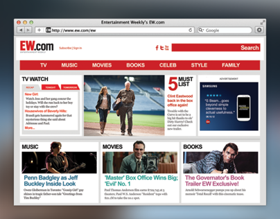 Entertainment Weekly Magazine Website Redesign