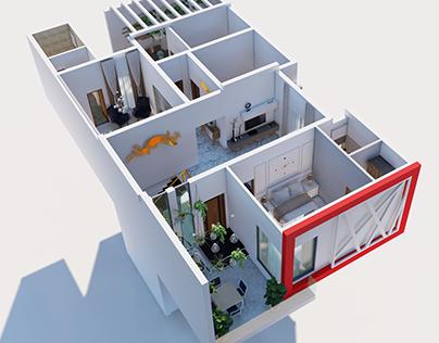 First Floor 3D Test Renders By Wahab Ahmad