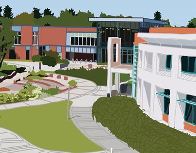 Clark College Illustration