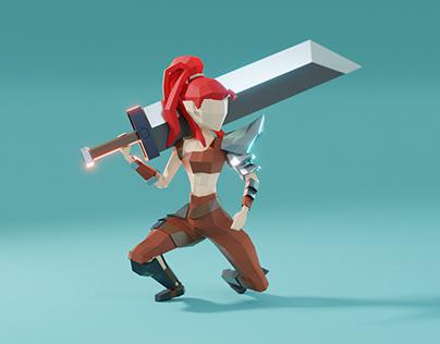 Lowpoly character: barbarian girl