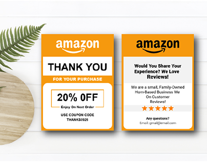 Amazon Thank You Card Product insert Card Design