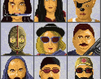 A set of postapocalyptic pixel art portraits