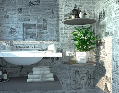 journal Wallpaper Bathroom Design