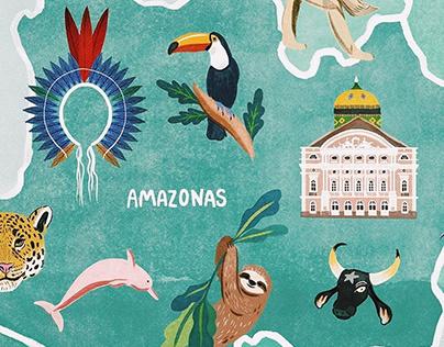 Ilustração • Campos de Girassol pelo Brasil