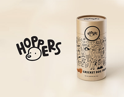 """Hoppers"" Cricket Dog Treats Packaging"