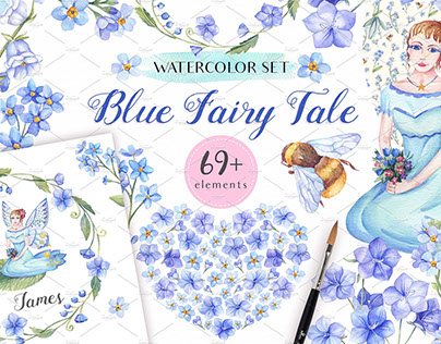 Blue Fairy Tale - Watercolor Set