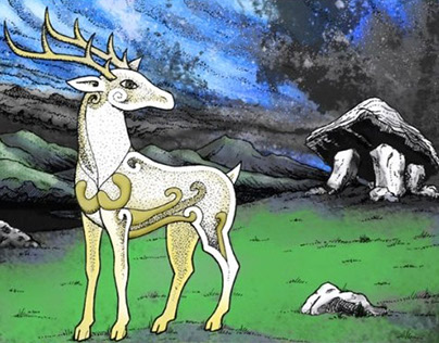 Celtic Stag in the style of Jim Fitzpatrick