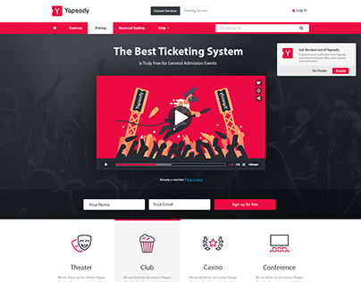Ticketing System Website Mockup