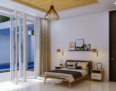 Interior Kamar Tidur Gaya Tropikal Modern ~ Jakarta