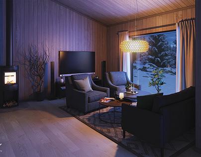 Norwegian house in winter