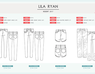 Private Label Line Sheet Sample