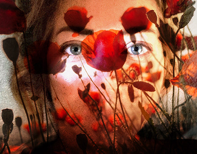 Self portrait with poppies.