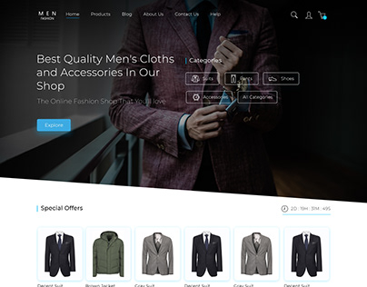 Men Fashion ecommerce website UI design