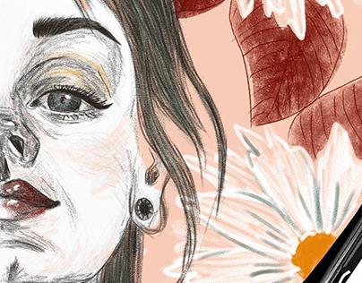 Pencil sketch to digital portrait